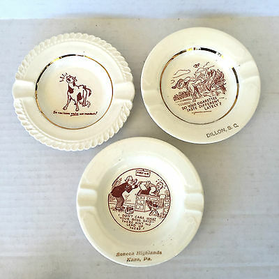 Vtg Joke Ashtray Novelty Lot of 3 Souvenir Retro Art Deco White Ceramic