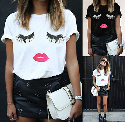 SH US Womens Girls Lashes Lips Printed T-shirt Smile Tee Short Sleeve Blouse