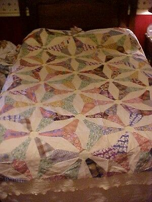 1930s PIECED QUILT TOP,  WONDERFUL FEEDSACK PRINTS