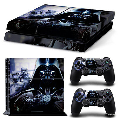 Decal Skin Sticker Cover For PS4 Playstation 4 Console&Controllers Black Fighter