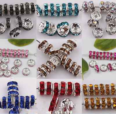 50x Wholesale CZ Crystal Rondelle Spacer Beads Findings Fit Charms Bracelet