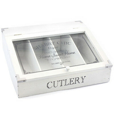 Shabby Chic Cutlery Box Storage Kitchen 4 Compartment Holder Caddy Canteen Lid