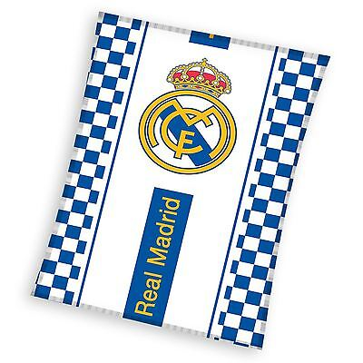 Real Madrid Checked Fleece Blanket Kids 100% Official Merchandise New Free P+P
