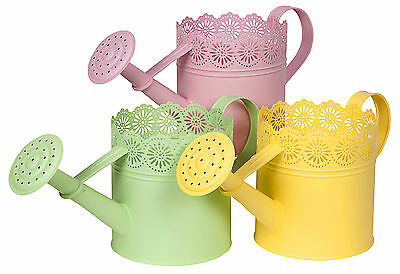 Vintage Watering Can Summer Laced Metal Pastel Yellow Pink Green Watering Can