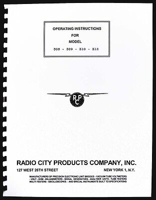 RCP 308 309 310 312 Tube Tester Manual with Tube Data and Supplement