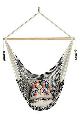 Large Size Black And White Hanging Hammock Chair Handmade