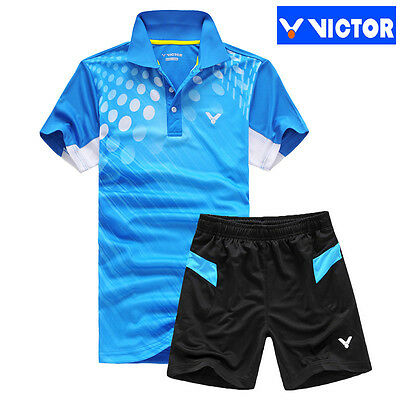 2016 victor men's Tops table tennis clothing Badminton Set T-shirt+shorts