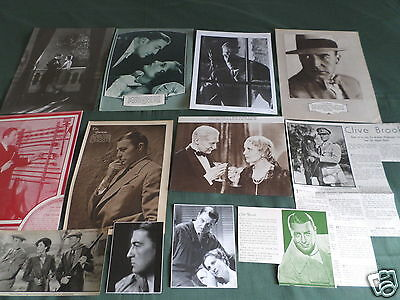Clive Brook - Film Star - Vintage  Clippings /cuttings Pack
