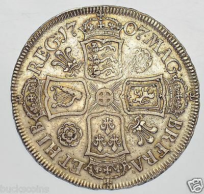 1707 Roses & Plumes Halfcrown British Silver Coin From Anne Vf/gvf