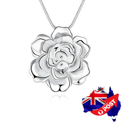 New Women jewelry 925 Silver Filled Rose Flower Pendant Chain Necklace Stunning