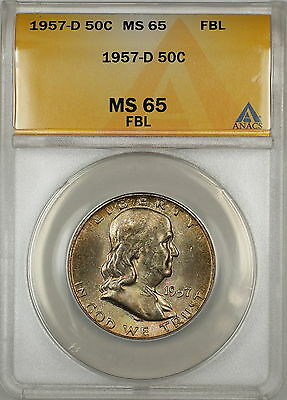 1957-D Silver Franklin Half Dollar Coin ANACS MS-65 FBL Toned Gem