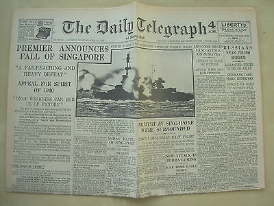 DAILY TELEGRAPH WWII NEWSPAPER FEBRUARY 16th 1942 THE FALL OF SINGAPORE