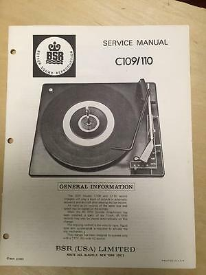 BSR Service & User Manual for the C109 C110 Turntable Record Changer