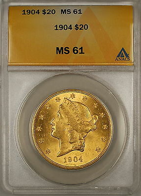 1904 $20 Liberty Double Eagle Gold Coin ANACS MS-61 (Better)