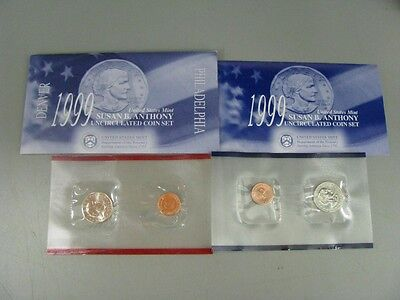 1999 P&D US Mint Susan B Anthony Unc Dollar Coins