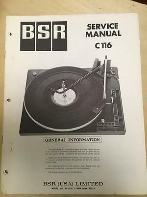 BSR Service & User Manual for the C116 Turntable Record Changer