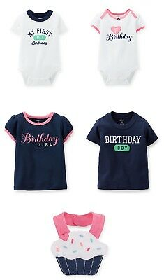 NEW Carter's Boys or Girls First Birthday Bodysuit Shirt or Bib 9 12 18 Months