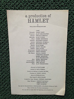 1969 HAMLET BARRY BOSTWICK ELLIS RABB CHRISTINE PICKLES Theatre Program