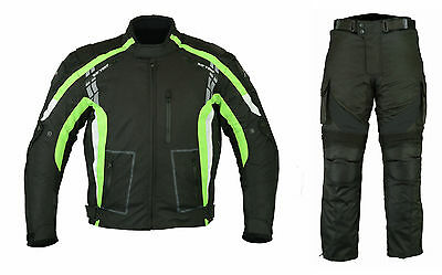 Motorcycle Motorbike Textile Jacket Trouser Suit  Black Waterproof CE Armoured