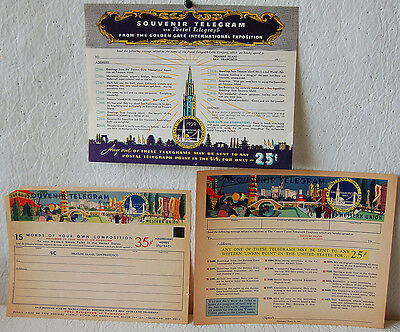 5. Western Union 3 Diff Telegram Blanks From The Golden Gate Int'l Expo 1939 S.f