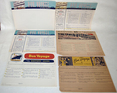 17. Lot Of 6 Western Union Telegraph Telegram Form Blanks - Bon Voyage Messages