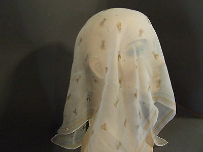 Vintage Peach Handrolled Scarf W/ Wasps Bees 23 X 25 (S24)
