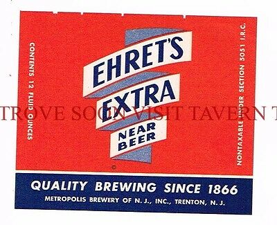 Unused 1960s Ehret's Extra Hammonton 12oz Beer Label Tavern Trove New Jersey