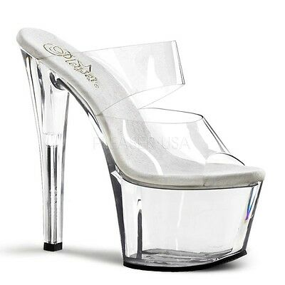 Pleaser Sky Clear Double Strap 7Inch Pole Dancing Platforms In Stock Au7/us7