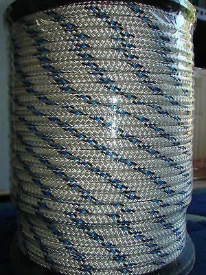 8mm x 100m Polyester Double Braided YACHT Rope ~Blue with Black Fleck 1341kg
