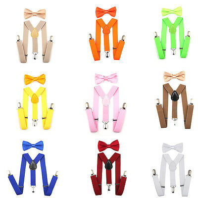 Adjustable Suspender and Bow Tie Set for Baby Toddler Kids Boys Girls Children