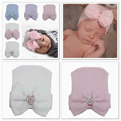 Baby Infant Toddler Girls Bow/Rhinestone Cute Cap Soft Hats 0-3 Months