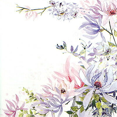 4x Paper Napkins -Purple Flowers- for Party, Decoupage
