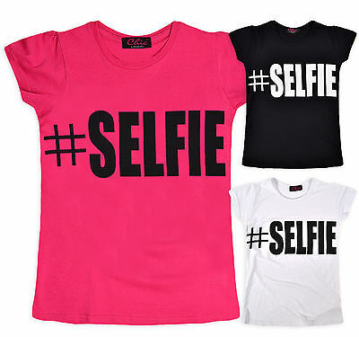 Girls Short Sleeve Selfie T Shirt Kids Summer Tee Top Pink White Black 7-14 Yrs