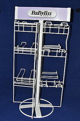 Retail Metal Counter Accessory Display Rack Spinner Three Tier 24 Pegs White