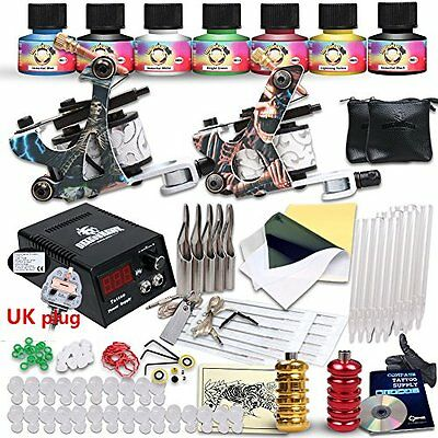 Professional Great Beginner Tattoo Kit 2 Machine Guns USA Brand Inks D53EUYMX