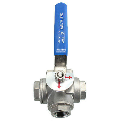 DN15 G1/2'' Female 3-Way L-Port 304 Stainless Steel Ball Valve Water Oil FZE