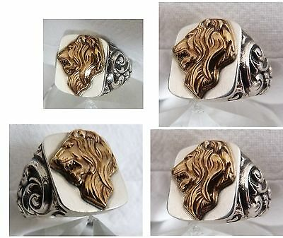 Lion Symbol Lion's Head Men's Ring Silver 835  Lion head ring signet uni