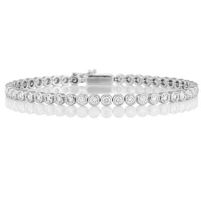 1.00 Carat Round Diamond Bezel Set Tennis Bracelet Crafted in White Gold