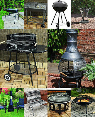 Large steel Charcoal Trolley Garden Barbecue BBQ / Grill & Chimnea Wood Burner