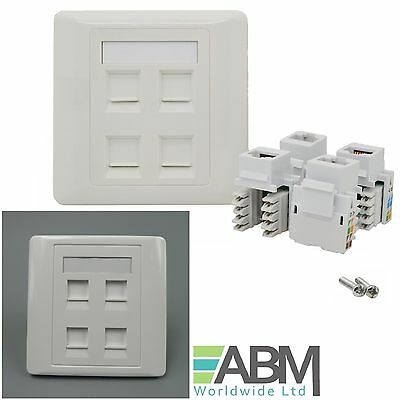 RJ45 CAT6 Face Plate Wall Sockets Cat6 QUAD 4 Port with Keystones Jacks