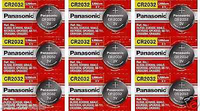 9 x SUPER FRESH Panasonic ECR2032 CR2032 Lithium Battery 3V Coin Cell Exp. 2028