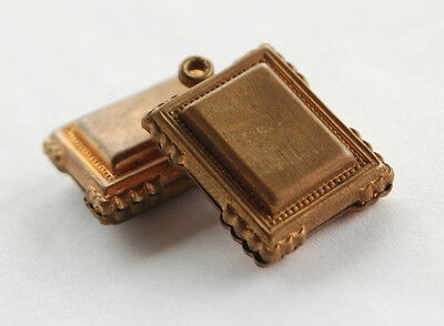 VINTAGE 2 RAW AGED BRASS VICTORIAN STAMPING PENDANT • BOOK or FRAME BEADS