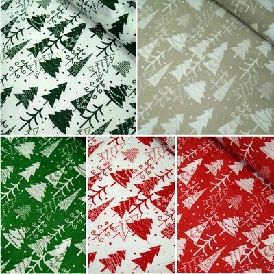 CHRISTMAS FESTIVE FOREST GREY POLYCOTTON FABRIC 112cm WIDE//METRE TREES SNOW