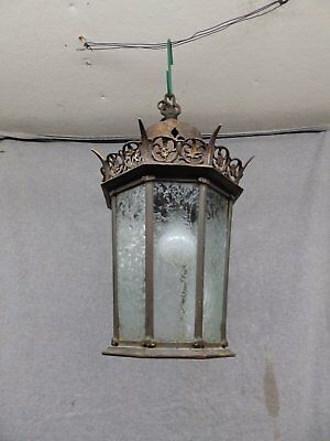 Antique Brass Gothic Ceiling Light Fixture Iced Glass Panels Old Vintage 462-16
