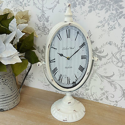 Mantle Clock Shabby Chic Vintage French Style Antique White