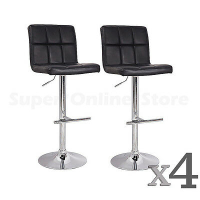 Set of 4 PU Leather Swivel Grid Bar Stools Black Kitchen Dining Chair