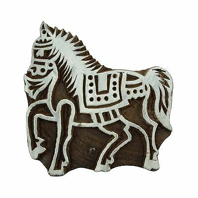 Decorative Indian Printing Block Wooden Horse Textile Stamps Hand Carved Wood