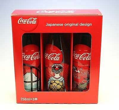 Boxed Trio Coca Cola Coke Bottles Happy New Year 2016 Scenes from Japan NEW Full