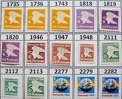 Complete Set of All 15 Rate Change Stamps A B C D and E MNH Scott's 1735 to 2282