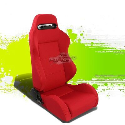 Pair Type-R Red Reclinable Jdm Sports Racing Seats+Adjustable Sliders Right Side